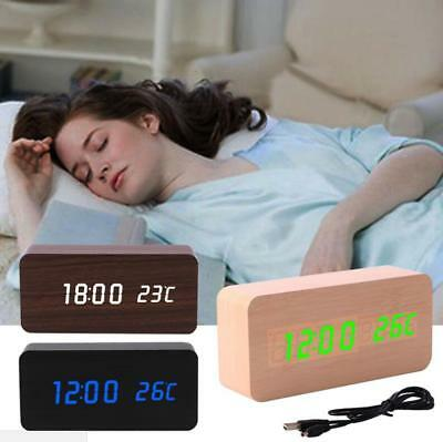 Modern LED Desk Cube Wooden Wood Digital Voice Alarm Clock Control Thermometer