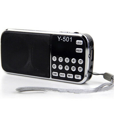 Black Portable LCD Digital USB TF AUX Mp3 Music Player Radio Speaker