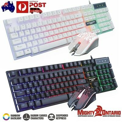 Rainbow USB LED Gaming Keyboard + Mouse Backlit Backlight Illuminated Multimedia