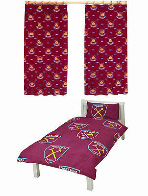 "Official West Ham Football Club Single Duvet Bedding Set & 66""x54"" Drop Curtains"