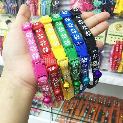 Hot Adjustable Small Size Pet Cat Puppy Dog Collar Band With Ring Bell Buckle AU