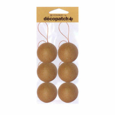 6x Decopatch Christmas Baubles Hanging balls decoupage MYO paper craft pack of 6