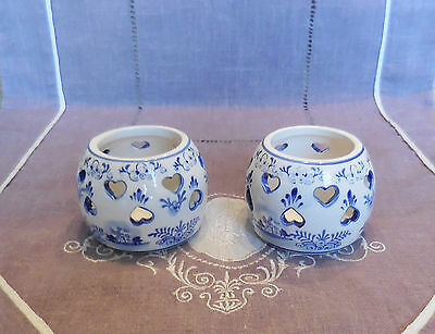 Paire De Bougeoirs Photofore En Faience Blue Delft Handpainted - Made In Holland