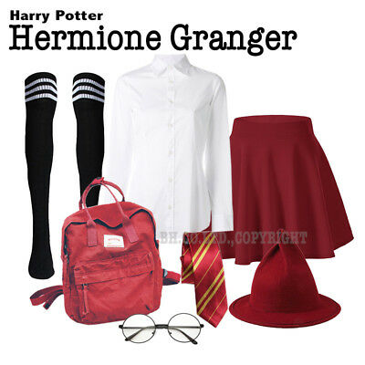 Hermione Costume School Skirt Shirt Winter Over Knee Socks LED Wand Wine Red