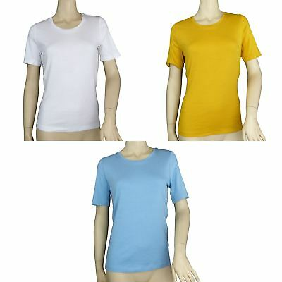 Ex M&S Marks And Spencer Pure Cotton Stitch Neck Top T-shirt