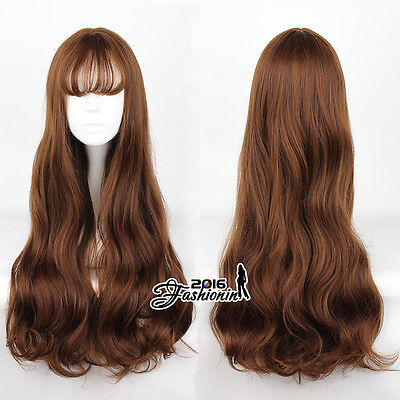 Wavy 75cm Flaxen Blonde Lolita Long Cosplay Anime Heat Resistant Party Full Wigs