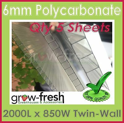 GREENHOUSE 6mm Polycarbonate panels roofing sheets twin wall DIY-2000x850mm QTY5