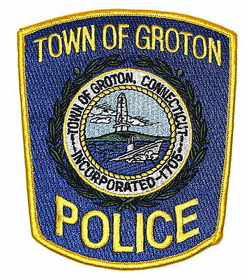 GROTON CONNECTICUT CT Police Sheriff Patch LIGHTHOUSE STEAM SHIP OCEAN CLOUDS ~