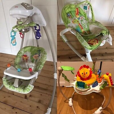 Fisher Price rainforest Bouncer Rocker, jumperoo and Swing (3 Items)