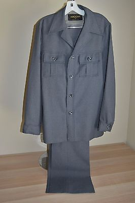 Vtg 70s HAGGAR Mens gray polyester 2 pc Leisure suit Jacket 40 Long pants 30