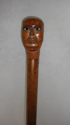 *vintage/antique Walking/dress Cane- Carved Face/head- Primitive - 87Cm