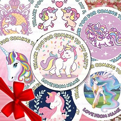 24 Personalised Unicorn Birthday Thank You For Coming To My Party Stickers Seals