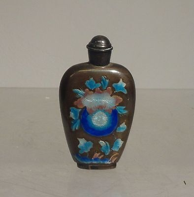 Antique Vintage Chinese Silver or Silver Plate Snuff Bottle Enamel Floral