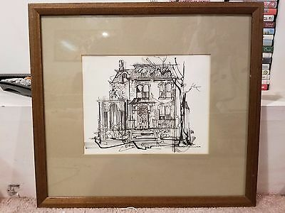 "Albert G. Cushing House South Bend Indiana Vintage Pen & Ink Print 9"" x 7"""