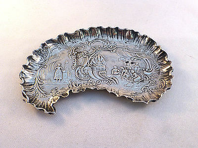 "Figural  European 800 Sterling Silver Scalloped Dresser Tray 5 1/8"" X 3 7/8"""
