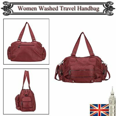 Womens Bags Washed Leather Tote Soft Ladies Handbags Hobo Crossbody Burgundy New