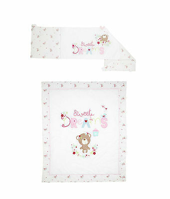 Silvercloud Sweet Dreams 2 Piece Bedding Cot/Cotbed Set - Pink Quilt & Bumper