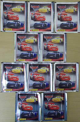Disney Cars 3 Movie ~ Panini Sticker Collection ~ 10 x Sealed Packs =50 Stickers