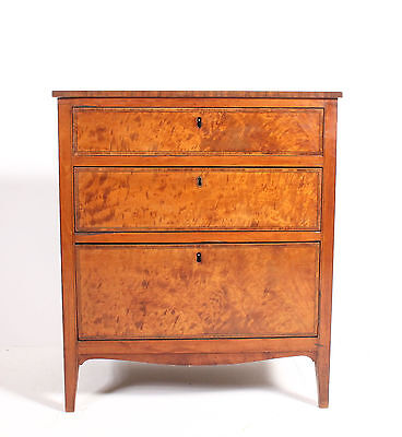 Rare Small Late C18th Antique Georgian Period Satinwood Chest Of Drawers
