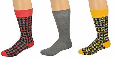 Sierra Socks Men's Dress Casual 3 Pair Pack Cotton Crew Pattern Socks M6800U