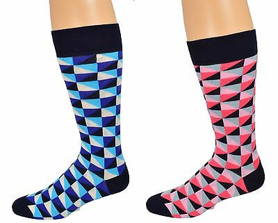 Sierra Socks Men's Dress Casual 2 Pair Pack Cotton Crew Pattern Socks M8010U