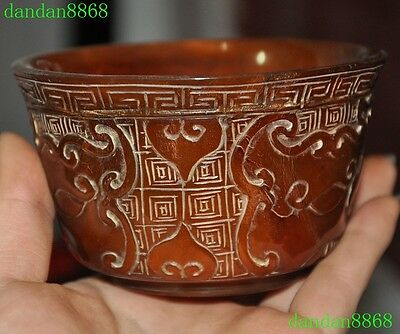 Collection rare old chinese Ox horn carving beast statue bowl Bowls cup