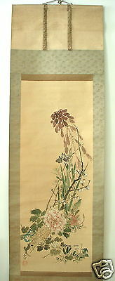 Antique - Japanese Painting- Flowers Of The 4 Seasons - Signed - 1 Seal.