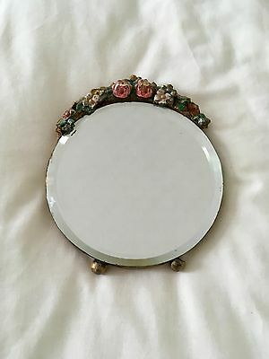 Vintage Round small barbola mirror with bevelled glass