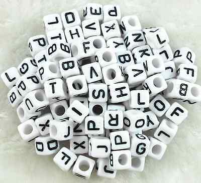 100Pcs 6mm Acrylic SINGLE LETTER A-Z White Cube ALPHABET BEADS