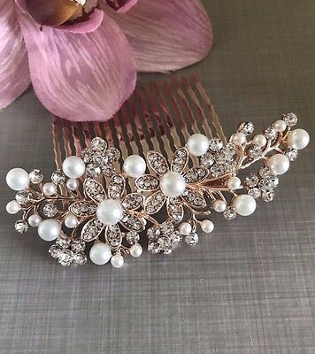 Uk Bridal Prom Rose Gold Crystal Diamanté Pearl Hair Comb Clip Slide Fascinator