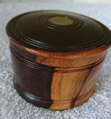Lignum Vitae Treen Lidded Pot with 1966 Jamaican Half Penny in Lid