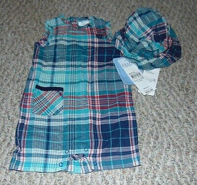 Baby Boy Clothes size 6 months Chaps 2 piece outfit Romper & Hat New with Tags