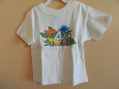 """NWT baby Gap boy green white t-shirt w/""""4 dinosaurs"""" and graphics; size 18-24m"""