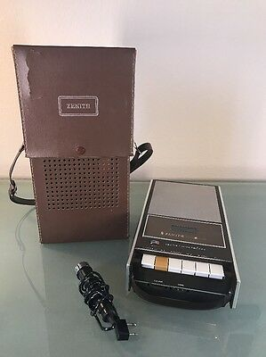 Vintage ZENITH Portable Cassette Player Recorder A-610J w/ Leather Case and Mic