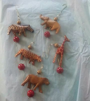 Lot of 5 African wood animals hand painted carved jungle safari ornaments