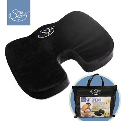 Orthopedic Memory Foam Seat Cushion by Save&Soft–Coccyx Pillow for The Car, Bus,
