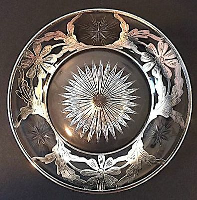"7"" Cut Glass Plate with Silver Overlay LOVELY!"