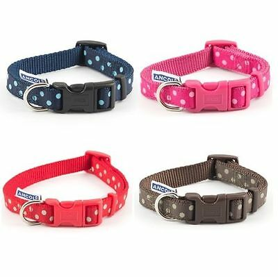 Ancol Polka Dot Dog Collar / Lead Blue Chocolate Red Pink Adjustable Nylon Spot