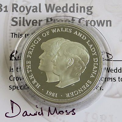 UK 1981 CHARLES & DIANA ROYAL WEDDING SILVER PROOF CROWN - coa