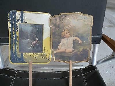 Two vintage adverising hand fans little gril and indain maiden