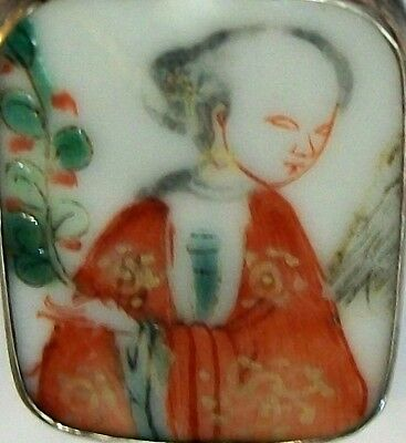Antique Chinese Porcelain Painted Shard Pendant in Silver Mount