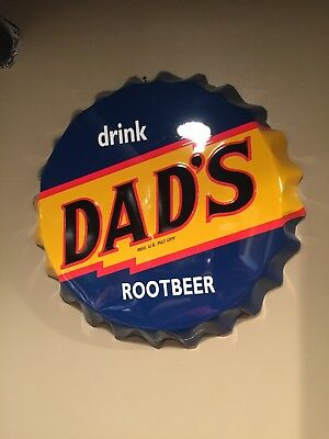 "Vintage Dad's Root Beer Soda Pop Bottle Cap 20"" Embossed Metal Sign By Stout"