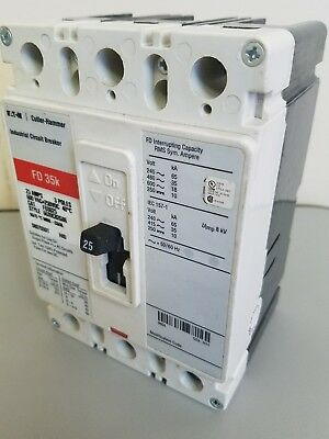 New Cutler Hammer FD3025L 3 Pole 25 Amp 35K Circuit Breaker