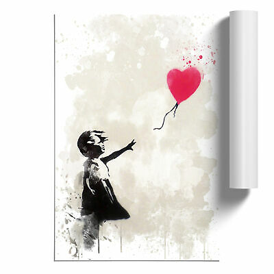 Poster Print Wall Art Banksy Girl with Balloon Wall Graffiti Art V3 Street Art