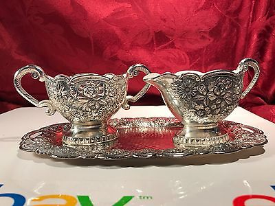 Vintage Silver Plated Enamel Sugar Dish and Creamer with Tray