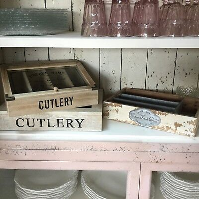 Vintage Chic Cutlery Boxes Holder French Chic Country Shabby Drawer Box Kitchen