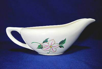 Knowles China Gravy Boat 1952 Pink White Flower Green Leaves Edwin Bowl