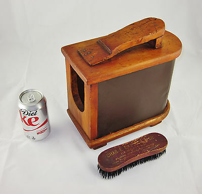 Stunning Antique Wooden Shoe Shine Box * Footed Base & Advertising Brush