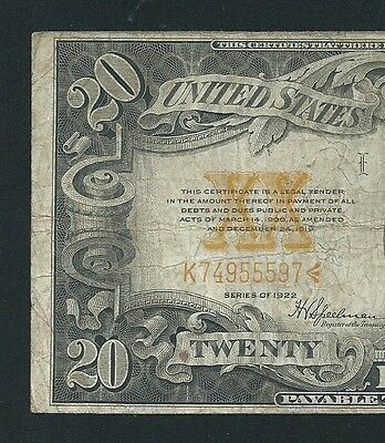1922 $20 In Gold Coin <<< Gold Certificate >>> Solid Problems Free Note