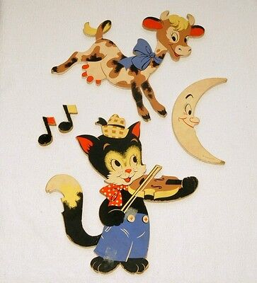 Vtg 1950's Dolly Toy Co Mother Goose Pin-Ups Cat & Fiddle Cow Moon Nursery Wall